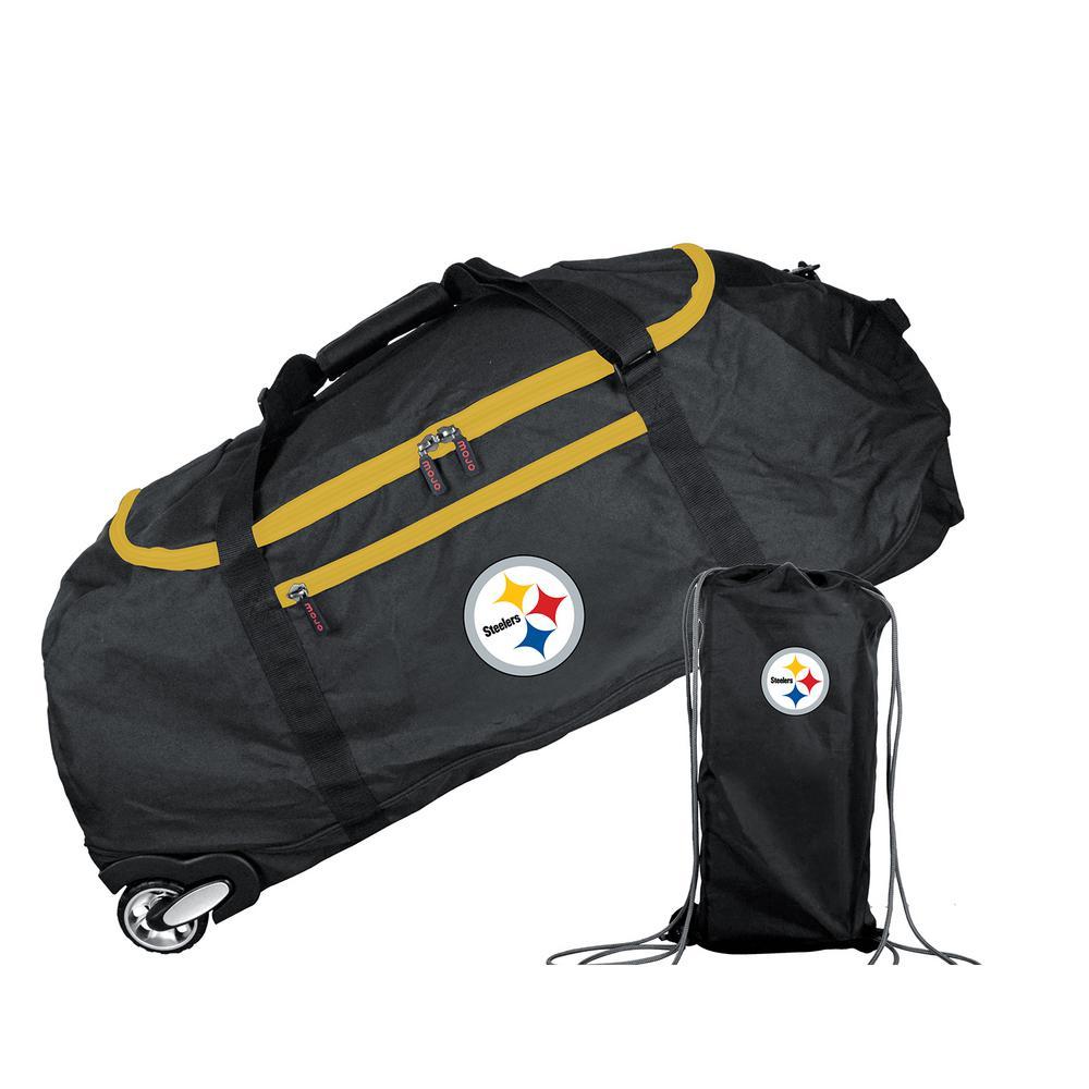Denco NFL Pittsburgh Steelers 36 in. Checked-In Rolling Duffel in Black