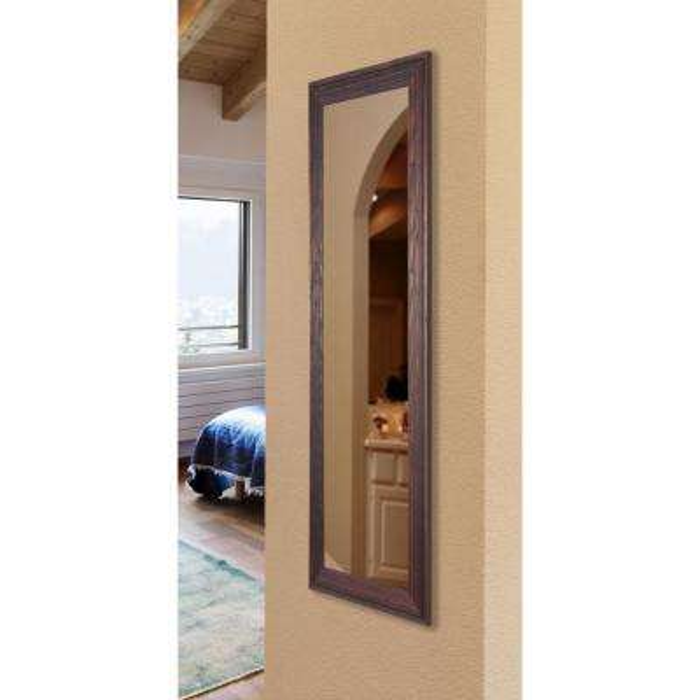 30.75 in. x 65.75 in. Vanity Barnwood Brown Non Beveled Floor Mirror