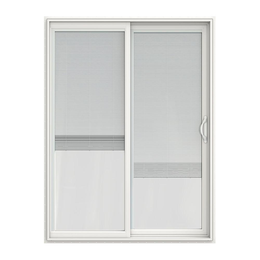 jeld wen 60 in x 80 in v 2500 series vinyl sliding patio door with blinds jw1815 00228 the home depot - 60 Sliding Patio Door
