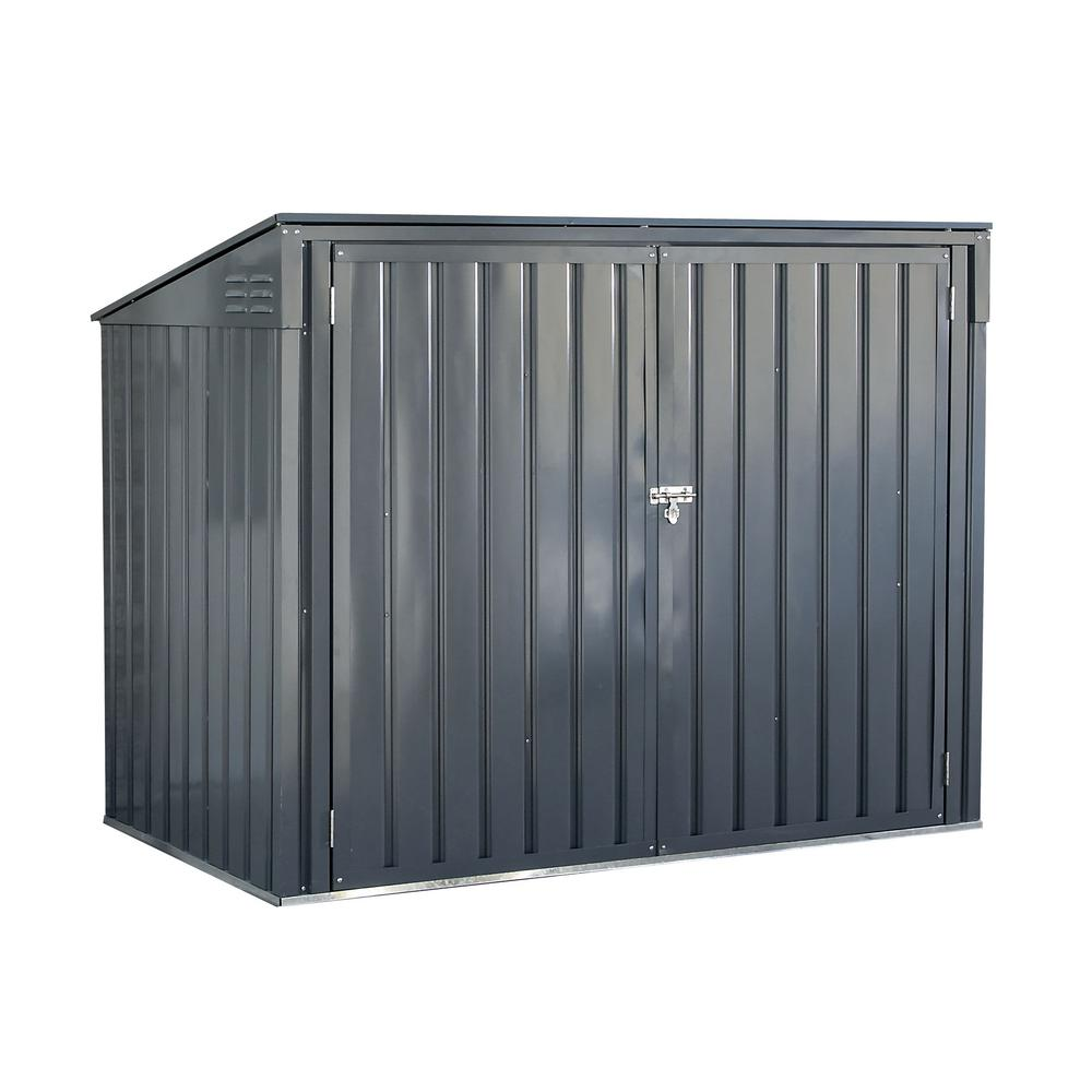 Arrow Storboss 6 foot x 3 foot Charcoal Galvanized Steel Horizontal Shed