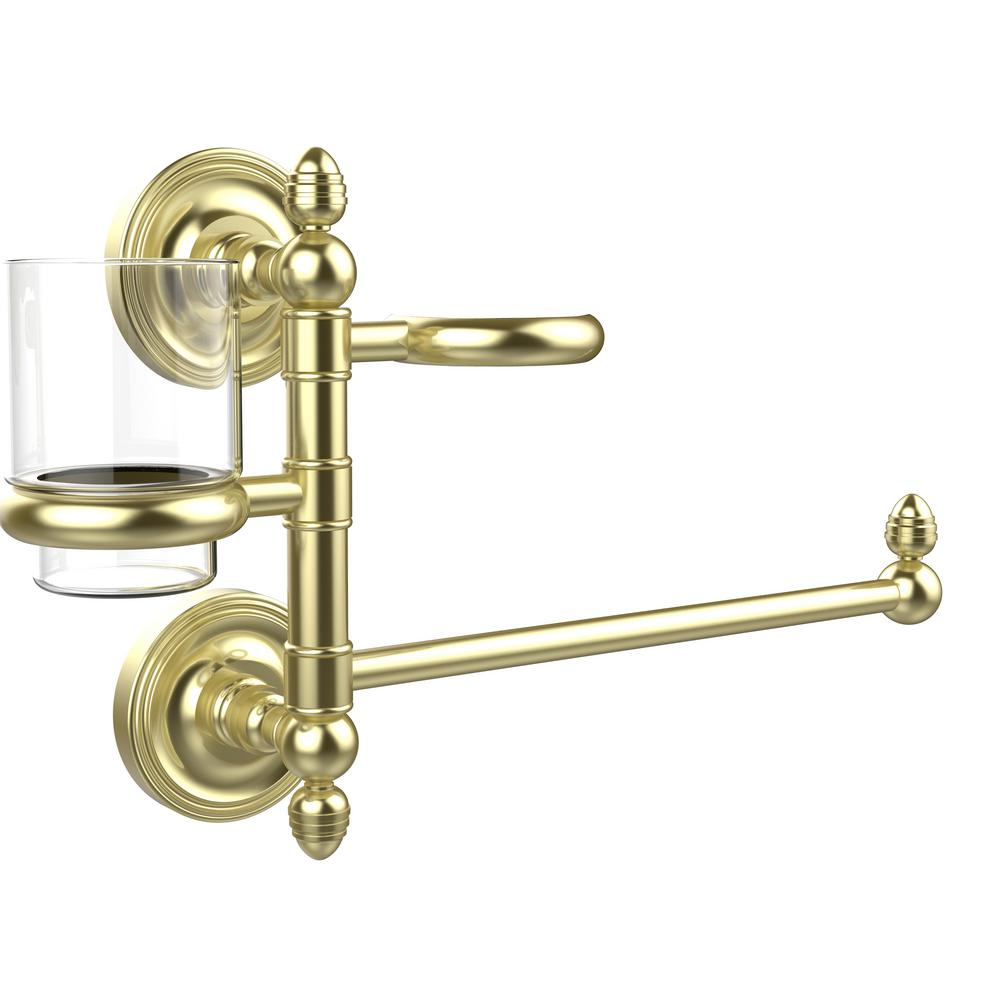 Allied Brass Prestige Regal Collection Hair Dryer Holder and Organizer in Satin Brass