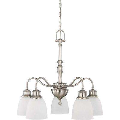 5-Light Brushed Nickel Arms Down Chandelier with Frosted Linen Glass Shade