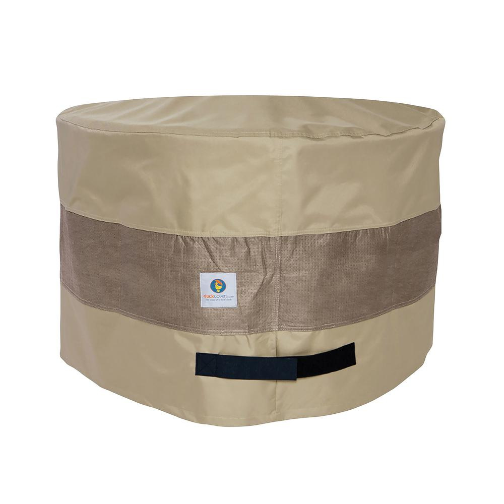 Duck Covers Elegant 31 in. Tan Round Patio Ottoman or Side Table Cover