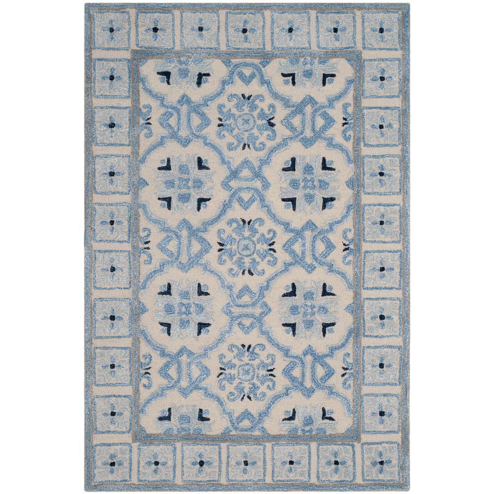 Bella Ivory/Blue 4 ft. x 6 ft. Area Rug