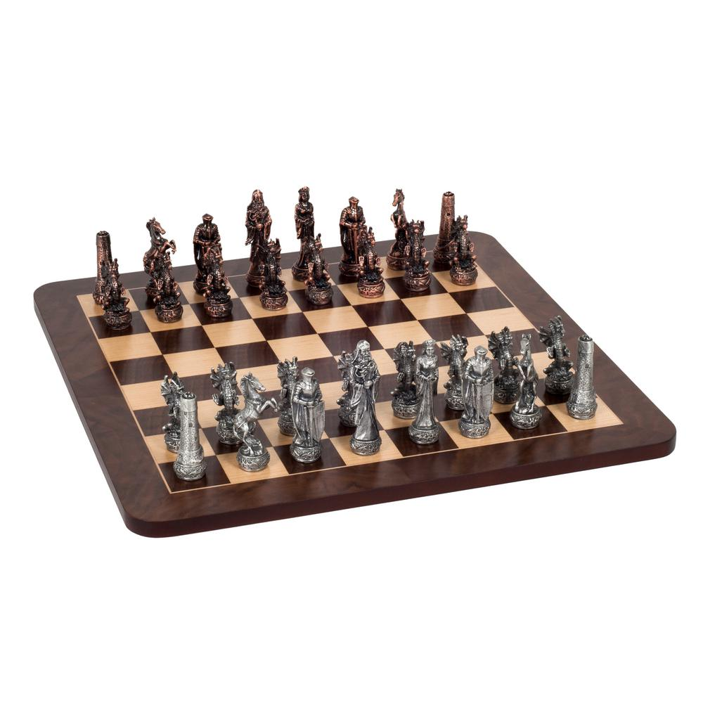 16 in. Fantasy Chess Set - Pewter Pieces and Walnut Root