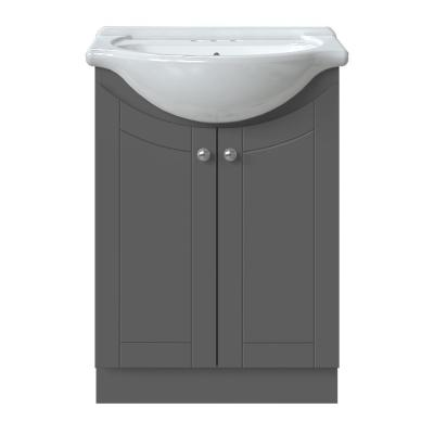 Venew 24 in. W x 17-1/8 in. D Bath Vanity in Twilight Gray with Porcelain Vanity Top in Solid White with White Basin