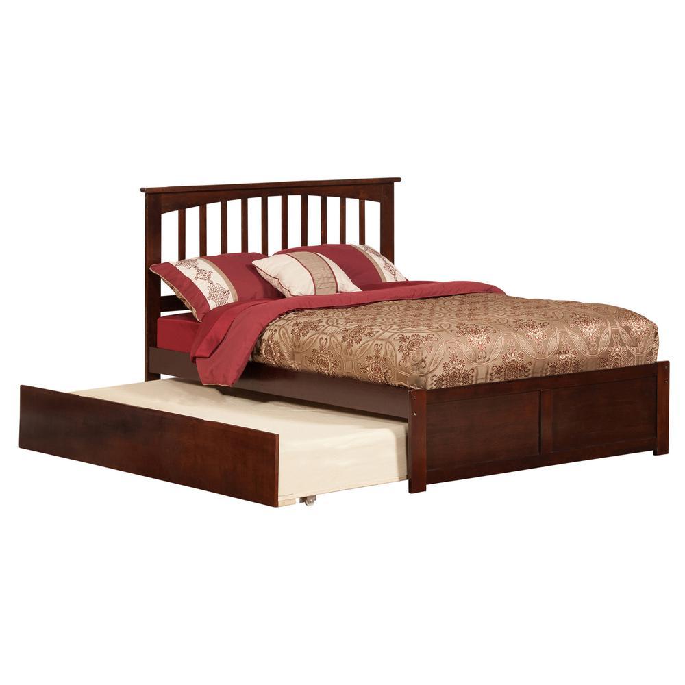 Atlantic Mission Walnut (Brown) Full Platform Bed with Fl...