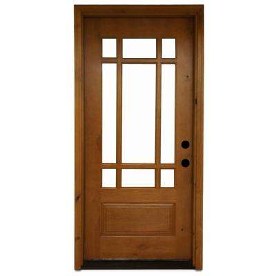 Craftsman 9 Lite Stained Knotty Alder Wood Prehung Front Door