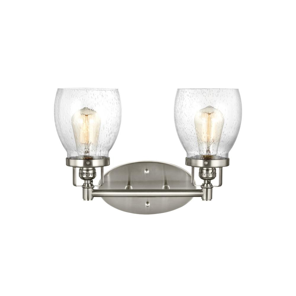 polished nickel bathroom lights sea gull lighting belton 2 light brushed nickel bath light 20021