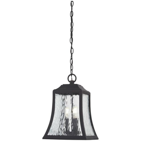 Cassidy Park Black Outdoor 3-Light Hanging Lantern Lantern with Clear Water Glass