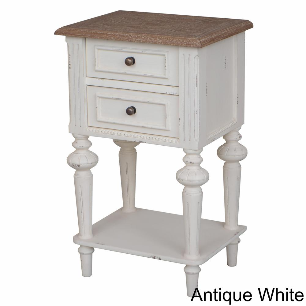 Ashbury Perles White Washed Natural Oak Veneer and Antique White 2-Drawer