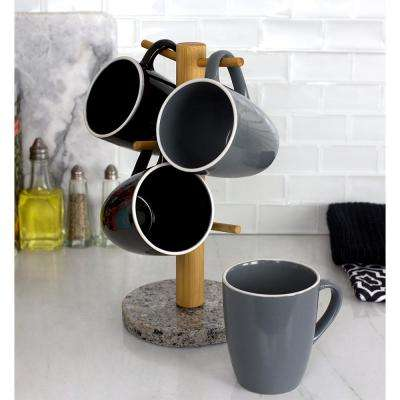6-Hook White Bamboo Mug Tree Holder Stand with Granite Base