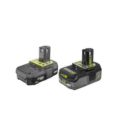 18-Volt ONE+ 2.0 Ah Lithium-Ion Compact Battery and 3.0 Ah Lithium-Ion LITHIUM+ HP High Capacity Battery