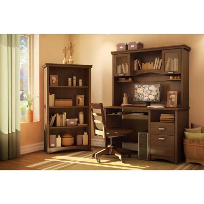 57.62 in. Sumptuous Cherry Faux Wood 4-shelf Standard Bookcase with Adjustable Shelves
