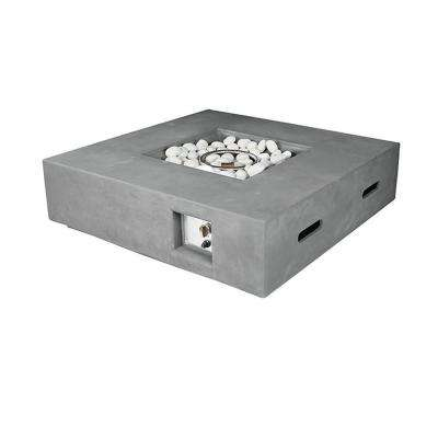 Brenta 42 in. W. x 12 in. H. Outdoor Square Magnesium Oxide Gas Fire Pit Table with Round Burner Kit in Light Grey