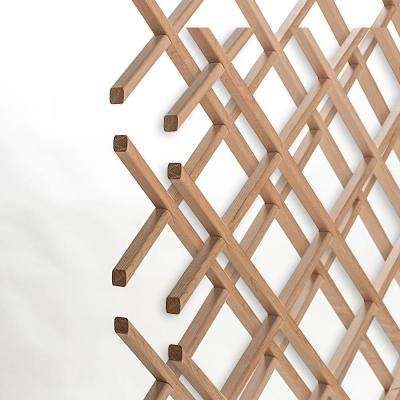 28-Bottle Trimmable Wine Rack Lattice Panel Inserts in Unfinished Solid North American Alder