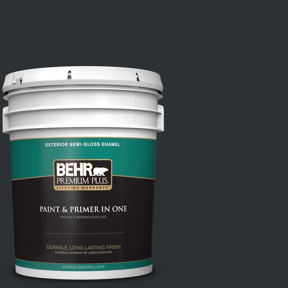 BEHR Premium Plus 5-gal. #ECC-25-3 Obsidian Stone Semi-Gloss Enamel Exterior Paint