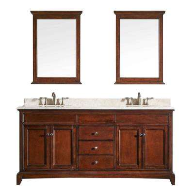 Elite Stamford 60 in. W x 23.5 in. D x 36 in. H Vanity in Brown (Teak) with Carrera Marble Top in White with White Basin