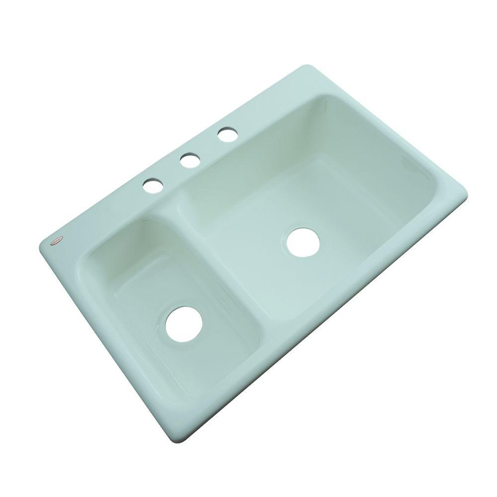 Thermocast Wyndham Drop-In Acrylic 33 in. 3-Hole Double Basin Kitchen Sink in Seafoam Green