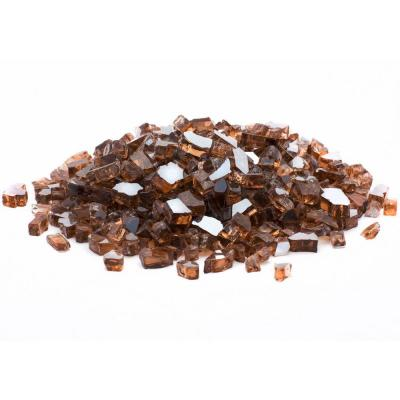 1/4 in. 10 lb. Copper Reflective Tempered Fire Glass