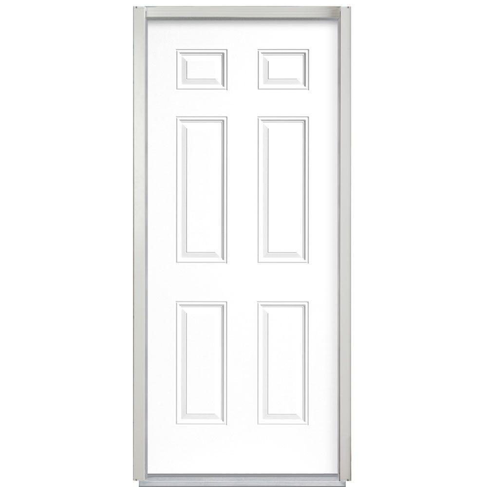 Masonite 32 In X 80 In Security 6 Panel Right Hand Inswing Primed Steel Prehung Front Door No