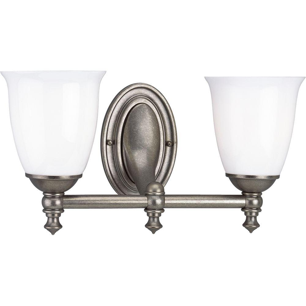 Progress Lighting Victorian Collection Aged Pewter 2-light Vanity Fixture-DISCONTINUED