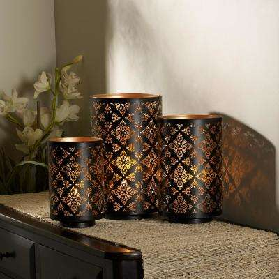 square metal luminaries set of 3 - Rustic Outdoor Christmas Decorations
