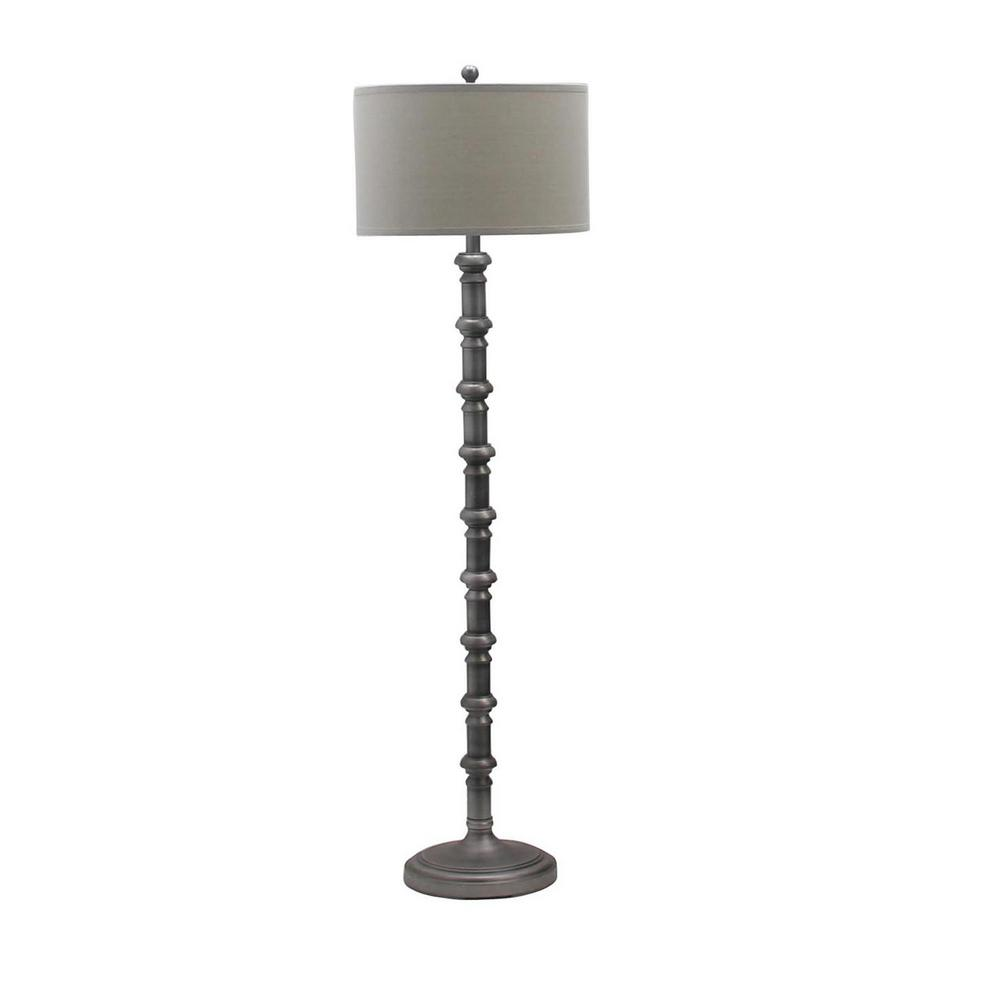 Fangio Lighting 63 In Antique Silver Metal Stacked Candlestick Floor Lamp