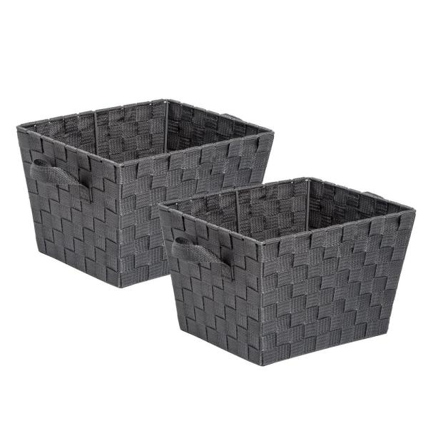 Honey Can Do 12 In D X 10 In W X 8 In H Charcoal Woven Baskets Set Of 2 Sto 07801 The Home Depot
