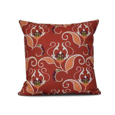 16 in. Orange West Indies Floral Print Pillow