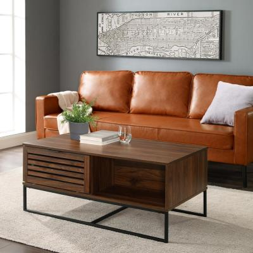 42 in. Dark Walnut Modern Slat Door Coffee Table