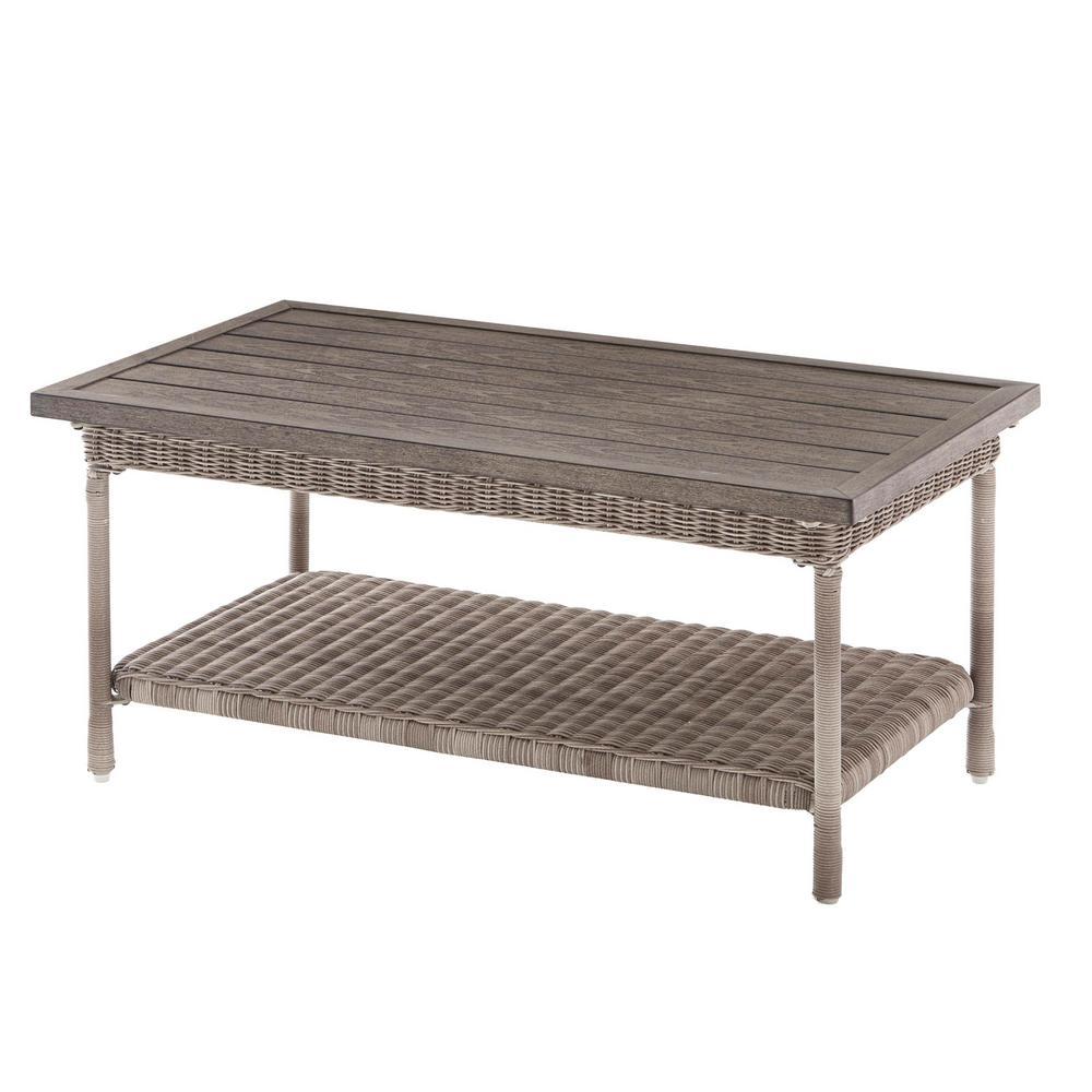 Beacon Park Gray Wicker Outdoor Patio Coffee Table