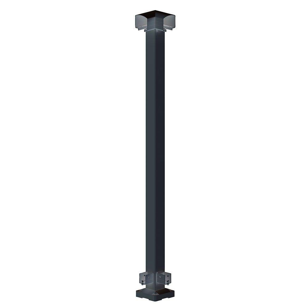 2 in. x 2 in. x 42 in. Black Aluminum Corner Post