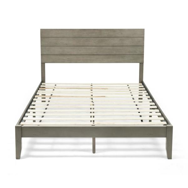 Grey Wood Queen Bed Frame, Queen Size Wood Bed Frame With Headboard