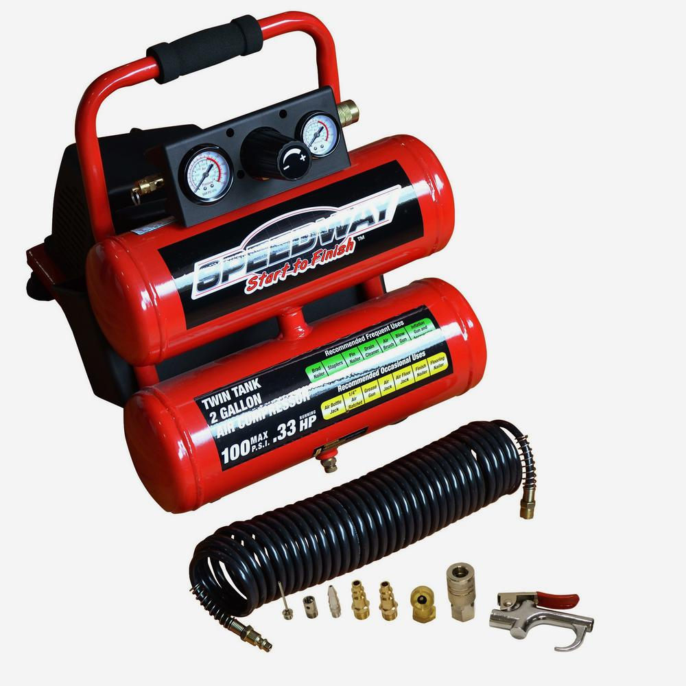 SPEEDWAY 2 Gal. Twin Stack Compressor Kit with 25 ft. Recoil Hose and Inflation Kit