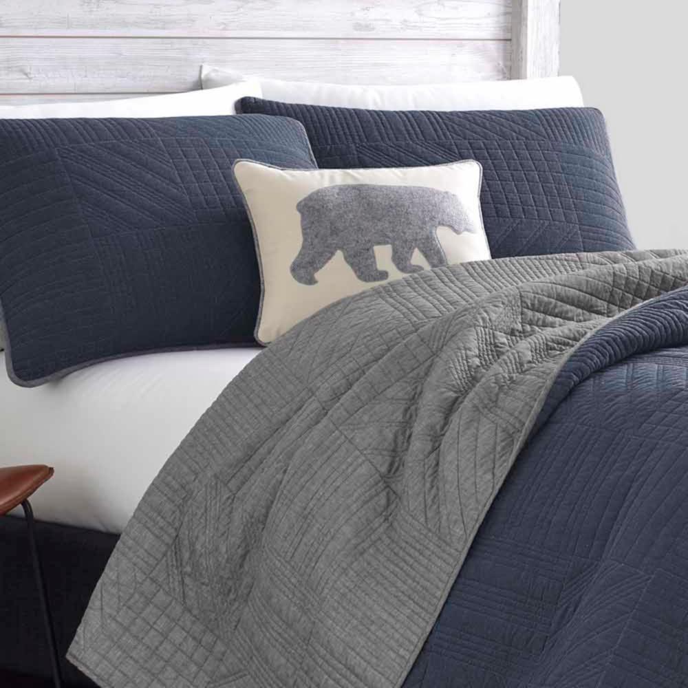 Hidden Lake Blue Plaid Cotton Quilt Set