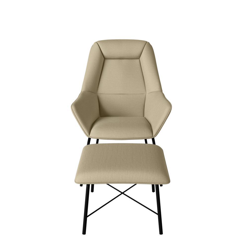 Marsha Creamy Tan Oatmeal Textured Linen-like Fabric Chair and Ottoman Set