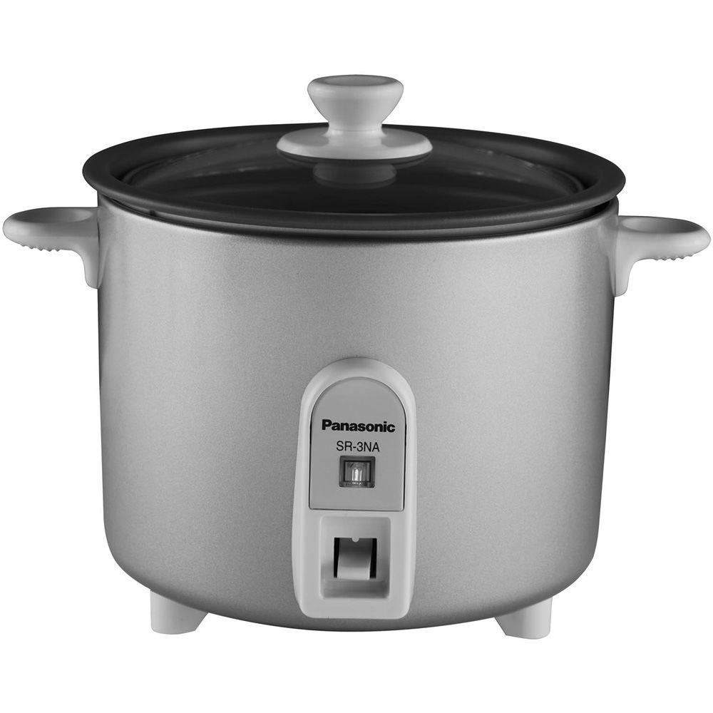 Panasonic 1.5-Cup Mini Rice Cooker with Glass Lid in Silver