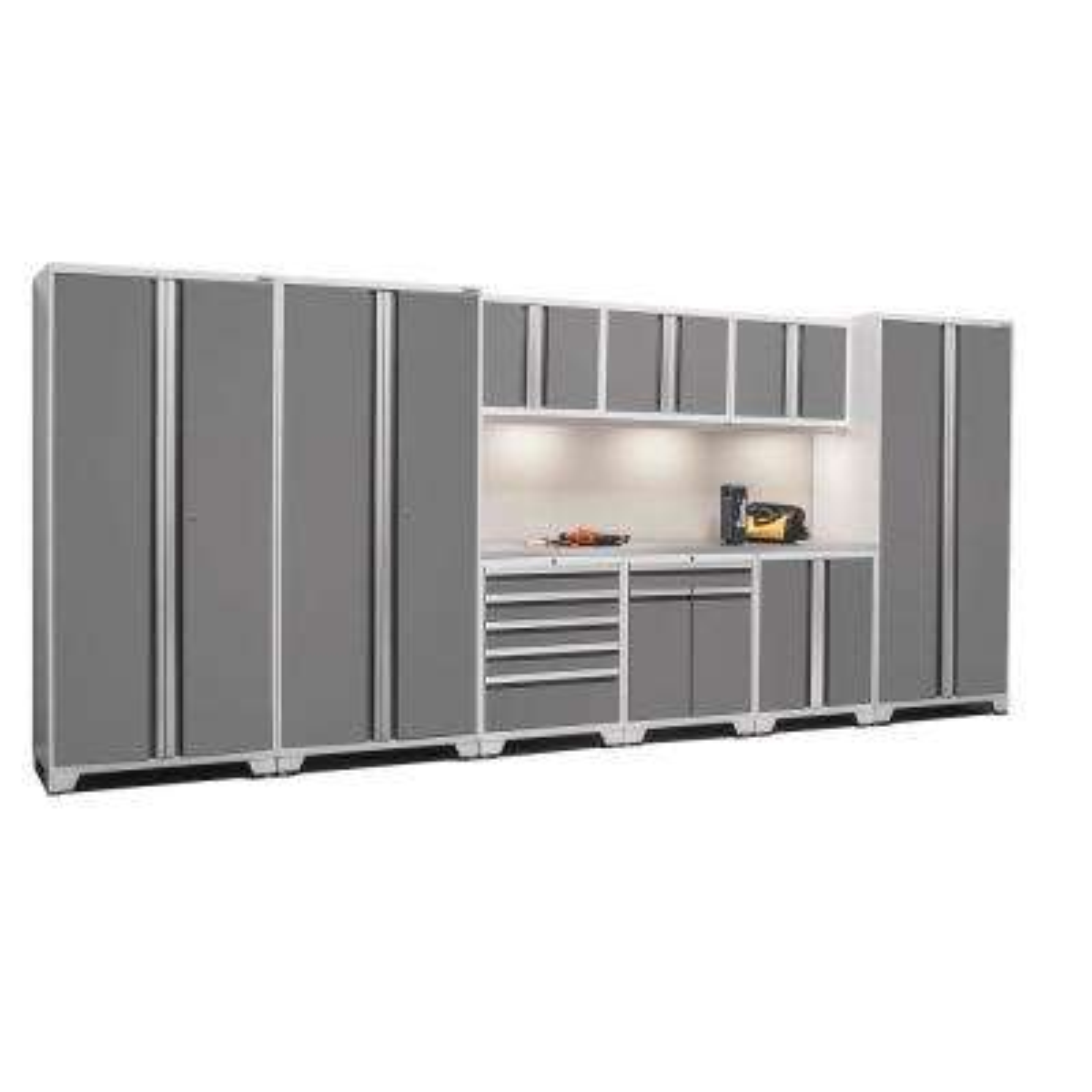 Pro 3 Series 85 in. H x 192 in. W x 24 in. D 18-Gauge Welded Stainless Steel Worktop Cabinet Set inPlatinum(10-Piece)