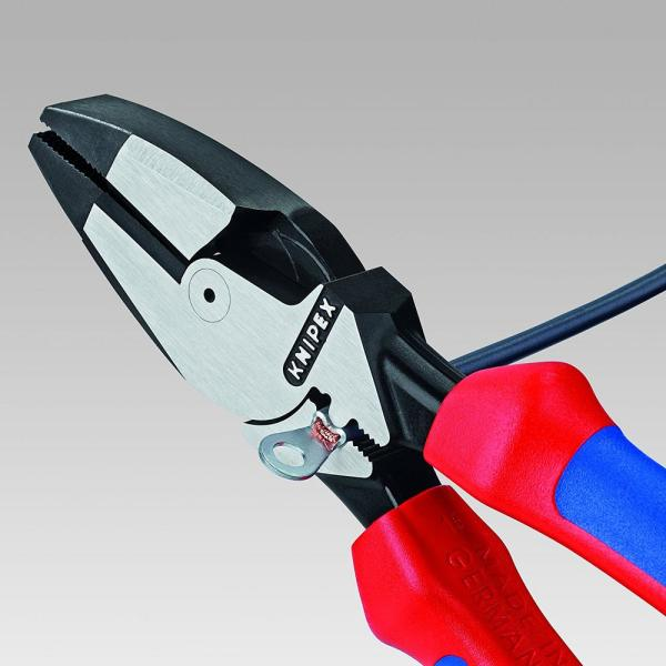 HIGH LEVERAGE LINEMANS PLIERS WITH FISH TAPE PULLER AND CRIMPS SIDE CUTTING