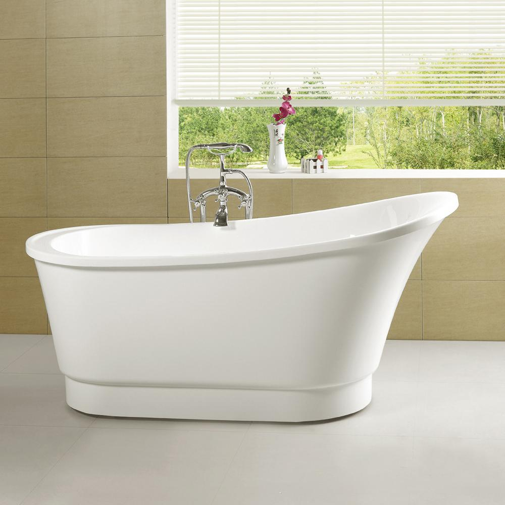 Vanity Art Cannes 67 in. Acrylic Flatbottom Freestanding Bathtub in White