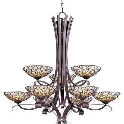 Meridian 9-Light Umber Bronze Multi-Tier Chandelier