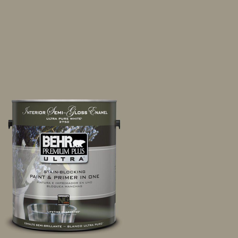 BEHR Premium Plus Ultra 1-gal. #UL190-5 Dusty Olive Interior Semi-Gloss Enamel Paint
