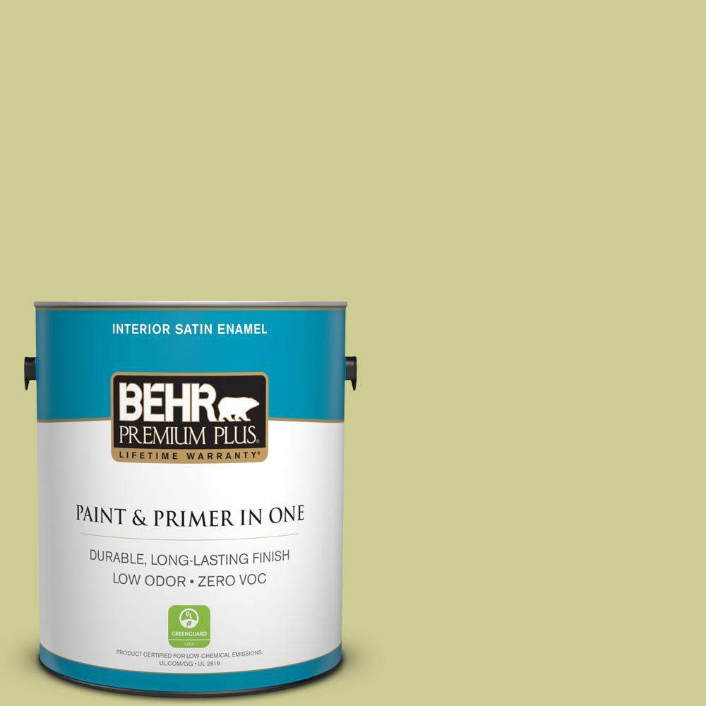 1-gal. #400D-4 Corn Husk Green Zero VOC Satin Enamel Interior Paint