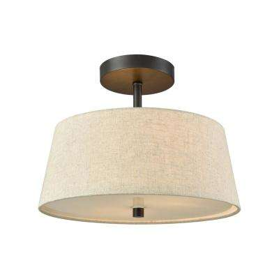 Morgan 2-Light Oil Rubbed Bronze Semi-Flushmount