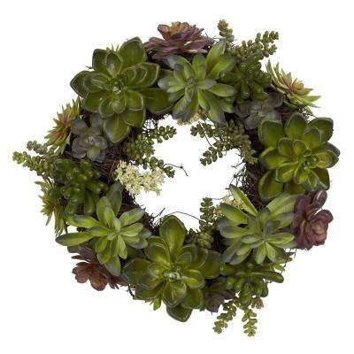 20 in. H Green Succulent Wreath