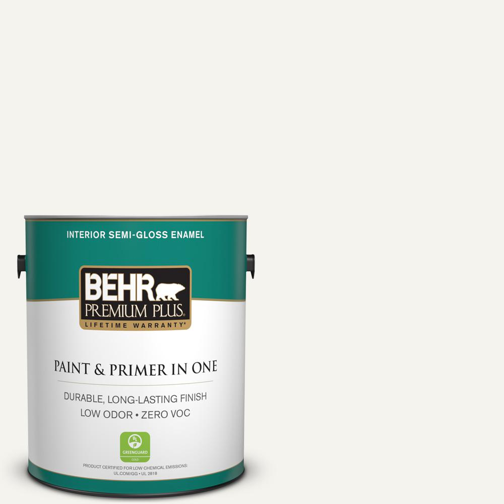 1 gal. #75 Polar Bear Semi-Gloss Enamel Zero VOC Interior Paint
