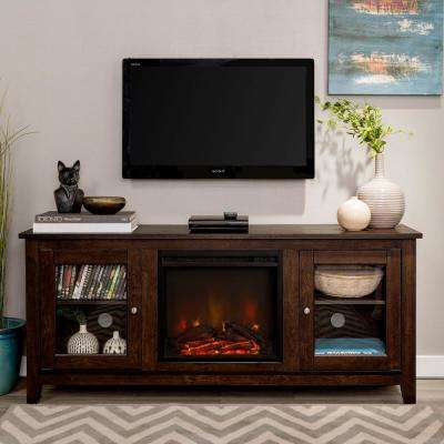 58 in. Traditional Electric Fireplace TV Stand - Traditional Brown