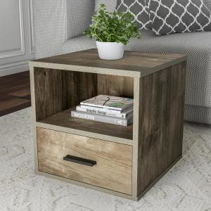 Gray Modular Cube End Table with Drawer
