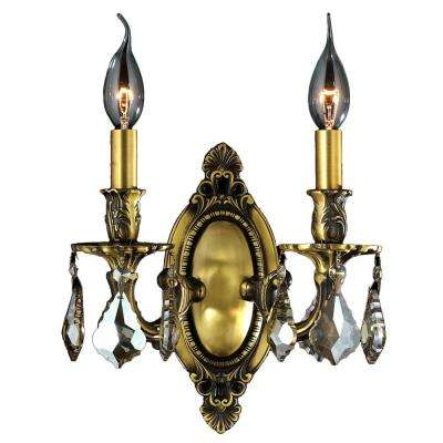 Windsor Collection 2-Light Antique Bronze and Golden Teak Crystal Candle Wall Sconce
